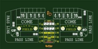 Rollout Gaming Craps Table Top Layout 70x35 High Quality