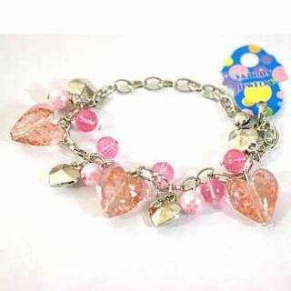 Lampwork Glass Beads Pearl Heart Link Bracelet Fashion Jewelry