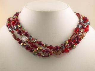Garnet Color Glass Bead Necklace Earrings Set S0214