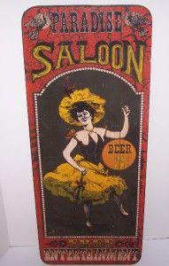 Vtg Wood Sign George Nathan #226 Paradise Saloon Beer Dancer Bar