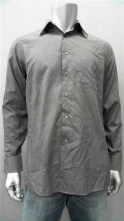 Geoffrey Beene Mens M 15 15 5 Cotton Dress Shirt Charcoal Gray Solid