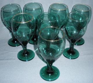 Green Glass Stem Water Goblets Wine Gold Libbey Vintage