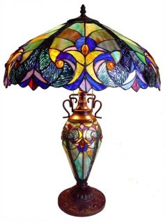 STAINED GLASS DOUBLE LIT TABLE LAMP YOUR CHOICE   REAL PIECED GLASS
