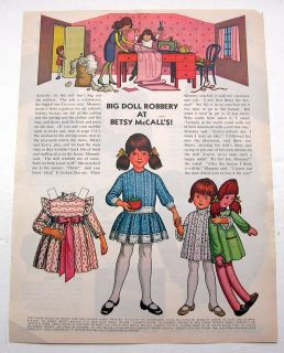 Vintage Big Doll Robbery at Betsy McCalls Paper Dolls November 1972