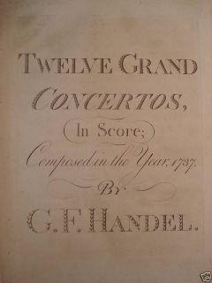 1789 Composer George Frideric Handel Music Score FOLIO / 12 Grand