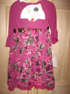 Dollie Me Matching Girls Doll Berry Roses Dress American Girl Bitty Sz