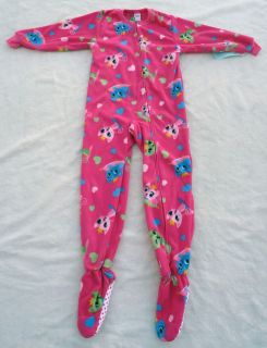 NEW Girls Footed Footy Cat Kitty Pink Pajamas PJs 4/5 XS & 6/7 Small S