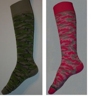 or Green Girls Camo Soccer Softball Volleyball Sports Sock