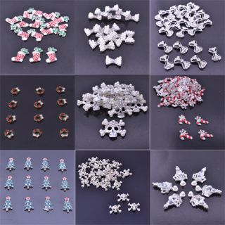 Christmas Alloy Nail Art Tips Sticker Glitters DIY Decoration