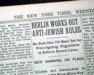 1935 Newspaper Nuremberg Laws Jewish Holocaust Swastika Flag Nazis