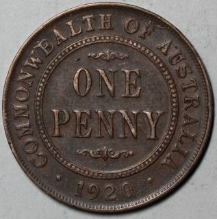 1920 Australia Penny King George V Dot Mint Mark Issue