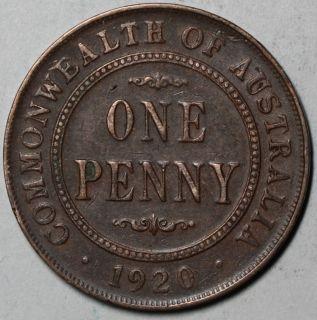 1920 Australia Penny King George V Dot Mint Mark Issue