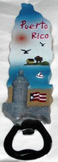 Puerto Rico Bottle Opener Magnet Hand Painted 6x1 1 2