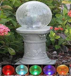 ball chameleon crackled glass solar gazing ball stand solar garden