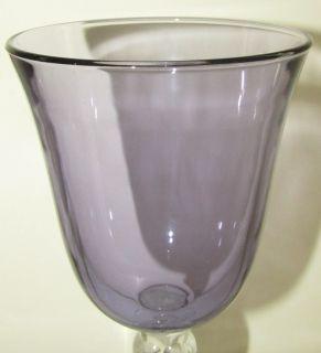Purple Amethyst Twisted Stem Flared Wine Goblet Glasses Set
