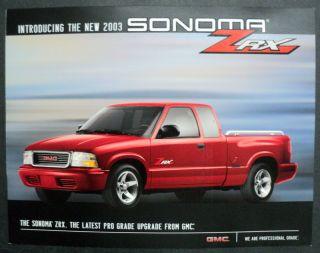 GMC 2003 Sonoma ZRX Truck Brochure