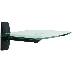 Glass Wall Shelf for Cable Box DVD Player Pivoting Arm