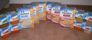 Gerber Infant Rice Cereal Oatmeal and Stage 2 Fruits Veggies Baby Food