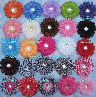 10 4Gerbera Daisy Peony Flower Clips Baby Hair Bow