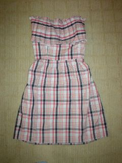 GEREN FORD Dress Large 8 pintuck strapless picnic plaid with pockets