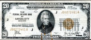1929 $20 Twenty Dollar United States National Bank Note Kansas City