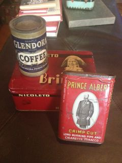 Vintage Antique Tins Nicoleto Prince Albert Tobacco Glendora Coffee