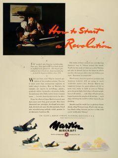 1943 Ad Glenn Martin Military Aircraft Navy Army Air Force WWII War