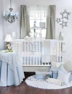 Glenna Jean Soft Blue Twinkle Star Boy 4pc Crib Nursery Set