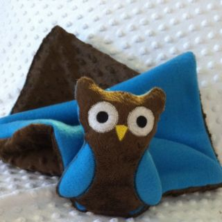 Handmade Ollie The Owl Baby Blanket, Security Minky Dot Brown, Fleece