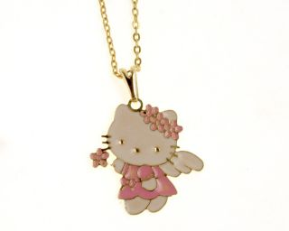 Gold 18k GF Angel Hello Kitty Pink Enamel Fairy Pendant Chain & Charm