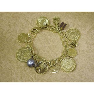 Gold Layered Foreign Coins Charm Bracelet Coin Jewelry