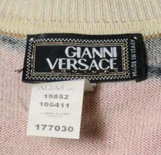 Gianni Versace Italian Abstract Print Small Wool Womens Top