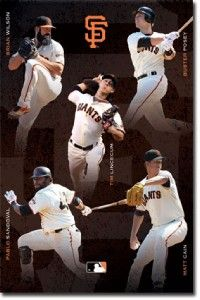 San Francisco Giants Team Wilson Posey Lincecum Cain Poster Print