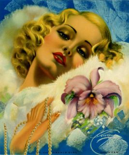 Billy DeVorss Art Deco Flapper Pin Up Print The Orchid Girl C 1940