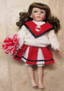 Geppeddo Porcelain Cheerleading Doll Red White Cheerleader Outfit