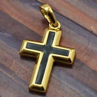 Black Enamel 9K Gold Filled Cross Pendant New