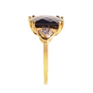 10K Yellow Gold Diamond Onyx Ring