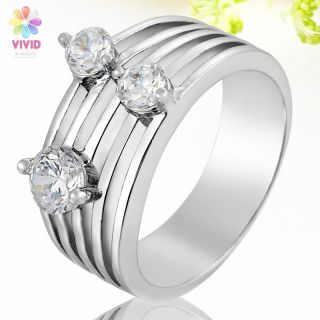 Jewelry Gift 4.5mm Fine Topaz Stone White Gold Plated Cocktail Ring 6