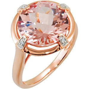 Diamond and Morganite Ring 14k Rose Gold 5 39 Carats