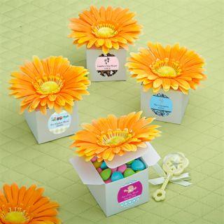 48 Orange Gerbera Gerber Daisy Wedding Bridal Shower Favor Boxes