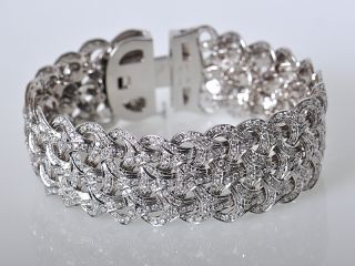 Versace 18K White Gold Pave Diamond Weave Bracelet