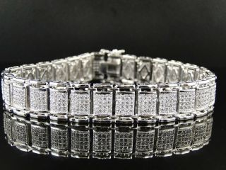 MENS WHITE GOLD FINISH WHITE SIMULATED DIAMOND MICRO PAVE SET BRACELET