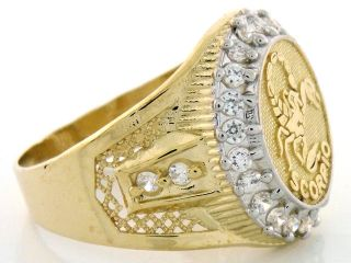 10K Solid Yellow Gold Mens Zodiac CZ Ring Scorpio