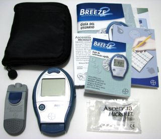 Ascensia Breeze 2 Blood Glucose Meter Monitoring System Kit with Case