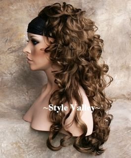 Long Golden Brown 3 4 Wig Fall Curly Hair Piece