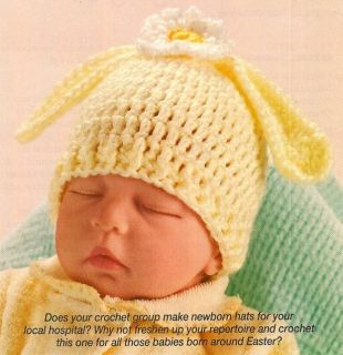 X967 Crochet Pattern Only Newborn Baby Bunny Hat Rabbit Ears