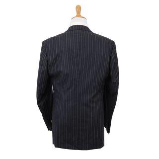 Gianfranco Ferre Dark Blue 100% Wool Striped Two Button Suit US 44 EU