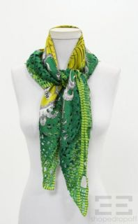 Gianfranco Ferre Green Yellow Silk Floral Cut Out Scarf