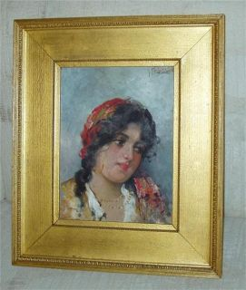 Antique Italian Painting Gypsy Girl Giovanni Battista