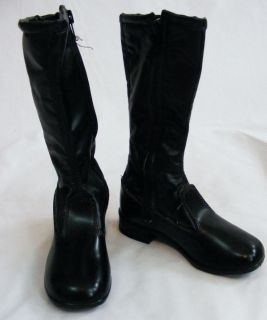 Vintage Deadstock 60s 70s Black GoGo Boots Knee High Girls 9 5